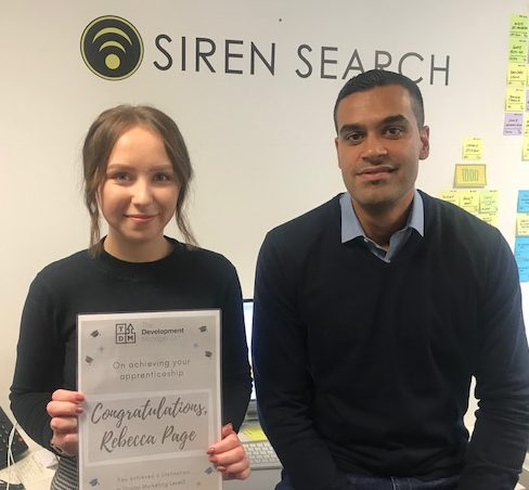 Rebecca with her mentor, Harps, at Siren Search.